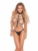 2 Piece Set Leather and Chain Vest and Matching Thong