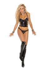 2 Piece Set Vinyl Bustier and G-String Elegant Moments