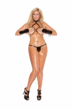 2 Piece Set Vinyl Cupless Bra and G-String