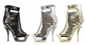 6 Inch Metallic Cut Out Heel Ellie Shoes