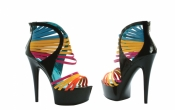 6 Inch Platform Multi Color Straps Ellie Shoes