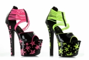 7 Inch Neon Heel With Elastic Band Ellie Shoes