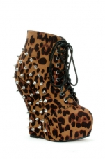 Belladonna Spiked Wedge Ankle Bootie Ellie Shoes