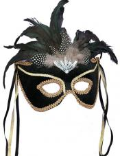 Black Feather Couples Mask Smiffys