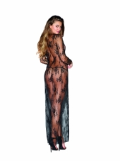 Black Lace Sheer Lingerie Gown Peignoir Set