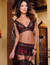 Bra Garter Skirt and Thong Set