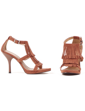 Brown Fringe High Heel Adult Shoes Ellie Shoes
