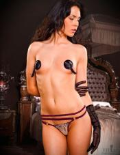 Burgundy Embroidered G-String