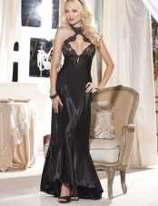Charmeuse and Lace Long Gown Shirley