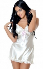 Charmeuse Babydoll w/ Black Satin Trim Vx Intimate Lingerie
