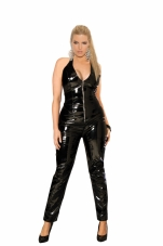 Deep V Vinyl Catsuit with Zipper Front Elegant Moments