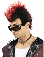 Faux-Hawk Black w/ Red Wig Fun World