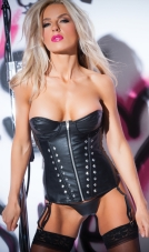 Faux Leather Flirty Studded Corset Allure