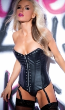Faux Leather Metal Fetish Corset Allure