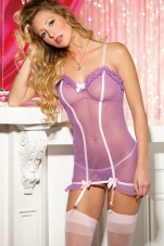 Flirty Bows Dot Net Gartered Chemise Shirley