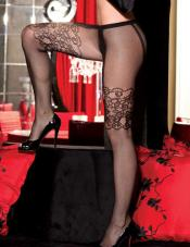 Floral Fishnet Faux Garter Pantyhose Shirley