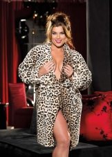 Fluffy Leopard Print Robe Shirley