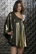 Giulia One Sleeve Draped Metallic Dress