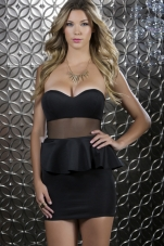 Glam Peplum Mesh Waist Dress Forplay