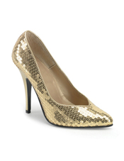 Gold Sequin High heel Adult Shoes Pleaser USA