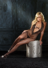 Halter Fishnet Deep V Bodystocking Leg Avenue