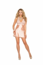 Lace and Charmeuse Halter Neck Babydoll