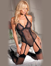 Lace Detail Stretch Mesh Teddy w/ Garters & Crotch Snaps Fantasy Lingerie