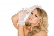 Lace Wrist Length Gloves with Ruffle Trim Elegant Moments
