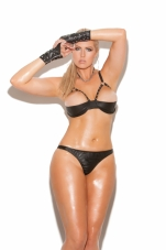 Leather Halter Demi Bra with Underwire Cups Elegant Moments