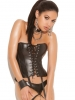 Leather Lace Up Strapless Corset