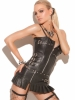 Leather Zip Front Buckle Corset
