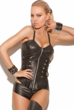 Leather Zip Front Ring Corset