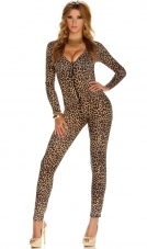 Leopard Print Zip-Front Jumpsuit Forplay