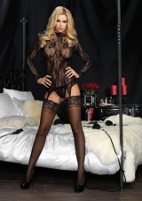 Long Sleeved Lace Garter Top Set Leg Avenue