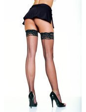 Lycra Back Seam Fishnet w/ Silicone Lace Top Leg Avenue