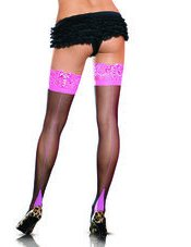 Lycra Sheer Cuban Heel Thigh High Leg Avenue