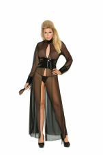 Mesh and Vinyl Long Sleeve Gown Elegant Moments