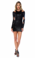 Midnight Hour Cutout Metallic Bodycon Dress