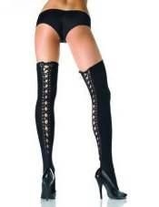 Opaque Thigh Hi with Lace Up Back Leg Avenue