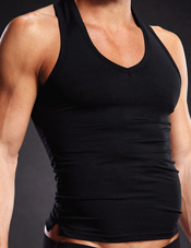 Performance Microfiber Pinstripe V-Neck Tank Black