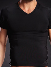 Performance Microfiber V-Neck Tee Black Electric Lingerie