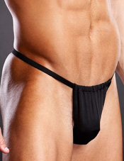 Performance Microfiber V-String Black Electric Lingerie