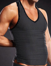 Performance V-Neck Tank White Pinstripe Black Electric Lingerie