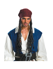 Pirates Caribbean Captain Jack Sparrow Headband w/ Hair Disguise