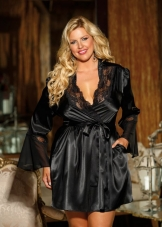 Plus Size Charmeuse Cut Out Robe Shirley