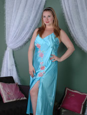 Plus Size Charmeuse Gown with Side Slit. Vx Intimate Lingerie