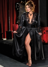 Plus Size Charmeuse Lace Long Robe