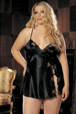 Plus Size Charmeuse Side Slit Babydoll Shirley