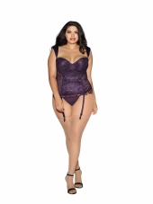 Plus Size Deep Purple Lace Bustier Set