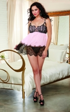 Plus Size Eyelash Lace and Chiffon Flyaway Babydoll Dreamgirl